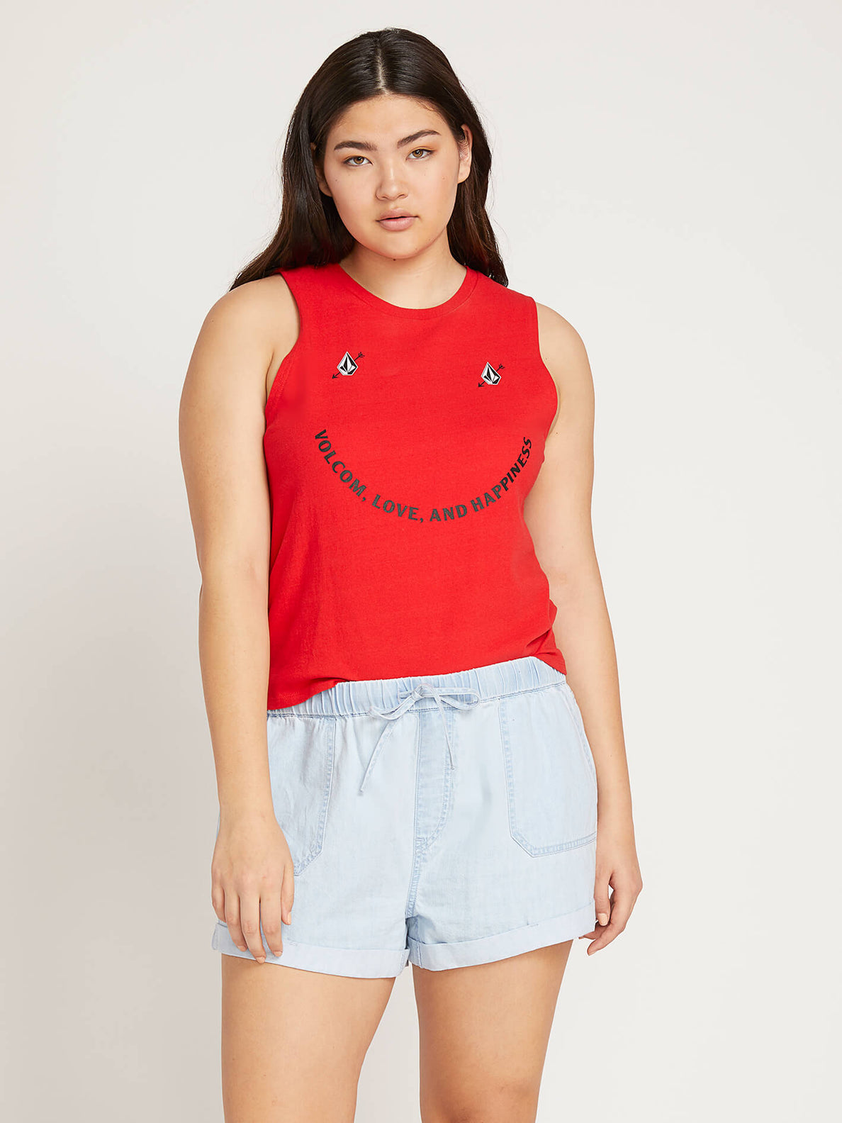 Volcom Love Tank In Red, Front Extended Size View