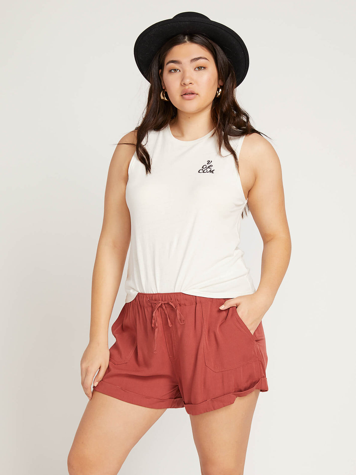 Volcom Love Tank In White, Front Extended Size View