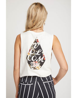 Volcom Love Tank In White, Back View