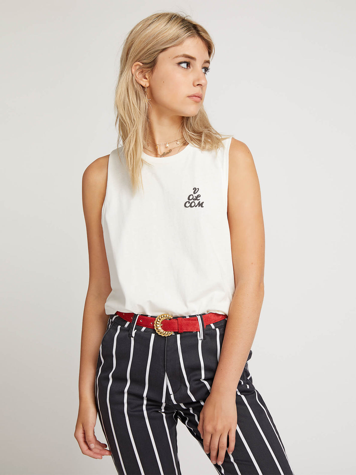 Volcom Love Tank In White, Front View