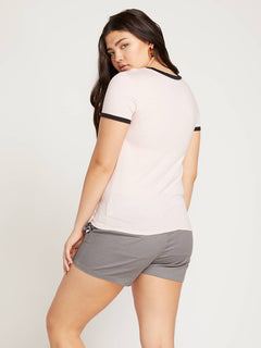 Side Stage Ringer Tee In Blush Pink, Back Extended Size View
