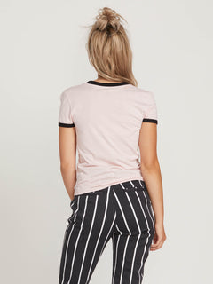 Side Stage Ringer Tee In Blush Pink, Back View