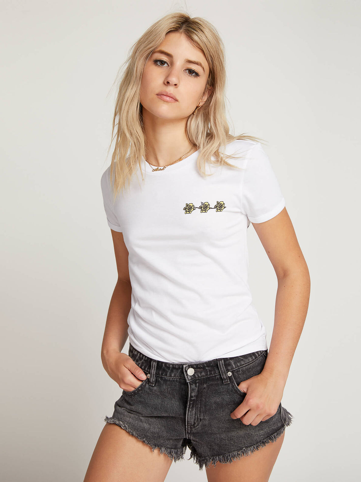 Side Stage Ringer Tee In White, Front View