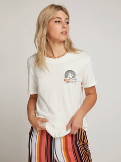 Ozzie Rainbow Tee In White, Front View