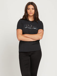 Stone Slick Tee In Black, Front Extended Size View