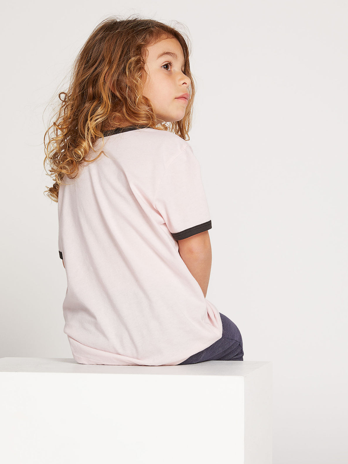 Little Girls Hey Slims Tee In Blush Pink, Second Alternate View