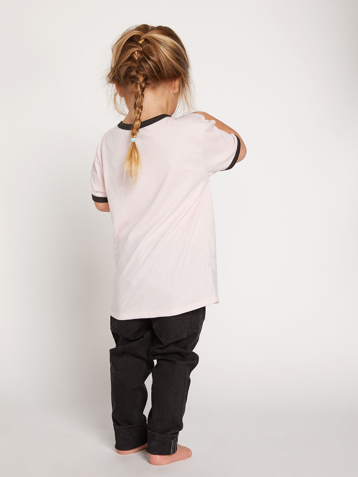 Little Girls Hey Slims Tee In Blush Pink, Back View