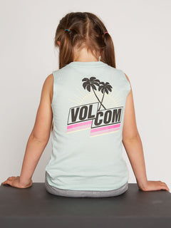 Little Girls Volcom Love Tank In Mint, Back View