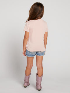 Little Girls Last Party Tee In Mellow Rose, Back View