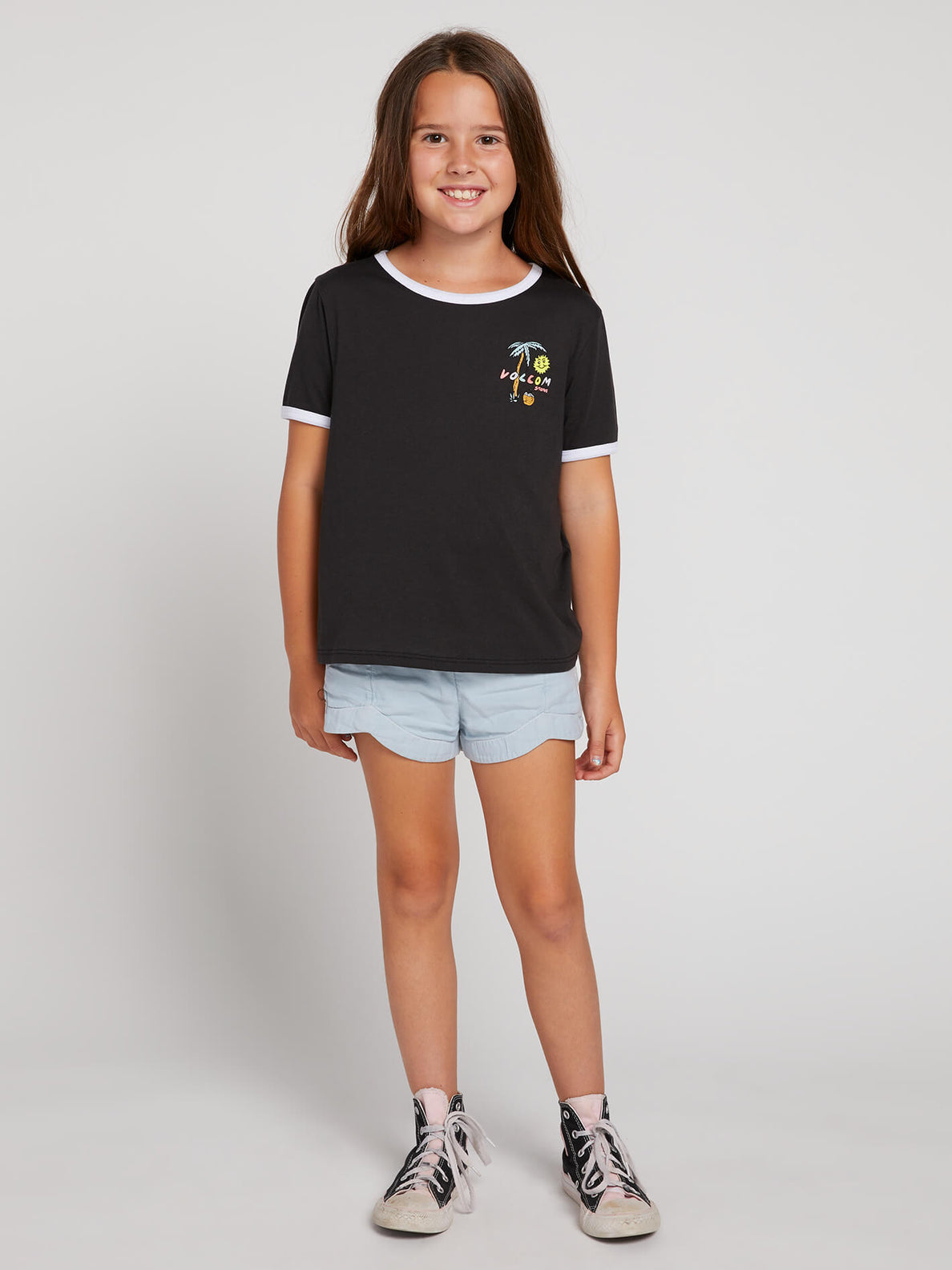 Big Girls Hey Slims Tee In Black Combo, Front View