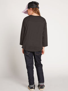 Big Girls Team Volcom Long Sleeve Tee In Black, Back View