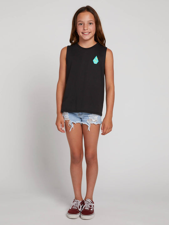 Big Girls Volcom Love Tank In Black, Front View