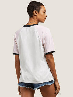 Volstone Ringer Tee In White, Back View
