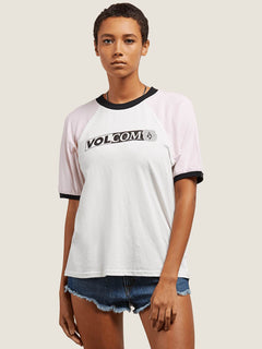 Volstone Ringer Tee In White, Front View