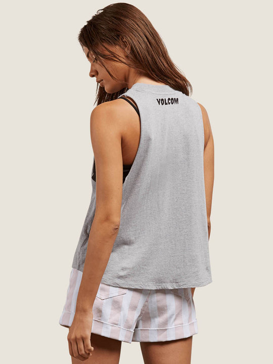 Get High Neck Tank In Heather Grey, Back View