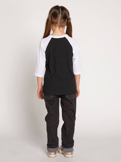 Little Girls Heart Lovin Raglan In Black, Back View