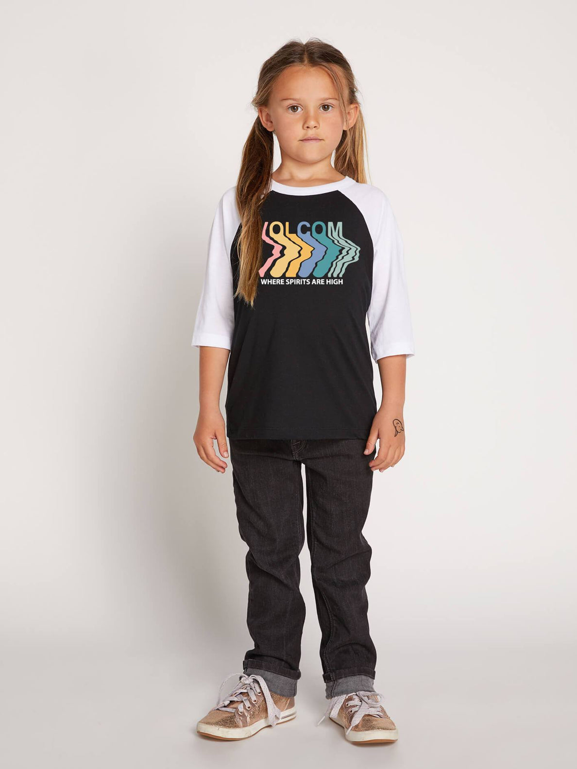 Little Girls Heart Lovin Raglan In Black, Front View