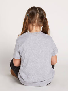 Little Girls Twister Cherry Tee In Heather Grey, Back View
