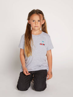 Little Girls Twister Cherry Tee In Heather Grey, Front View