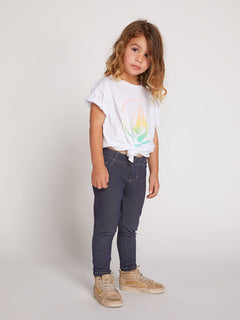 Little Girls Twister Cherry Tee In White, Front View