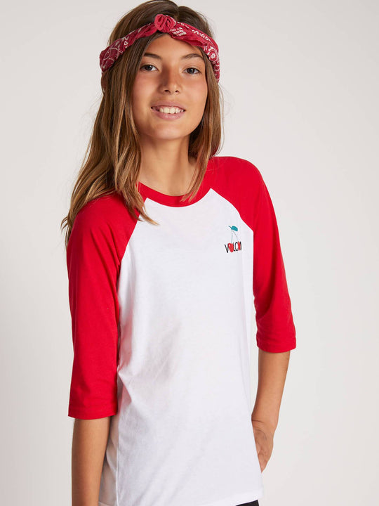 Big Girls Tag Time Raglan In Red, Front View