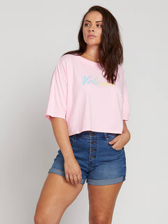 Neon And On Tee In Neon Pink, Front Extended Size View