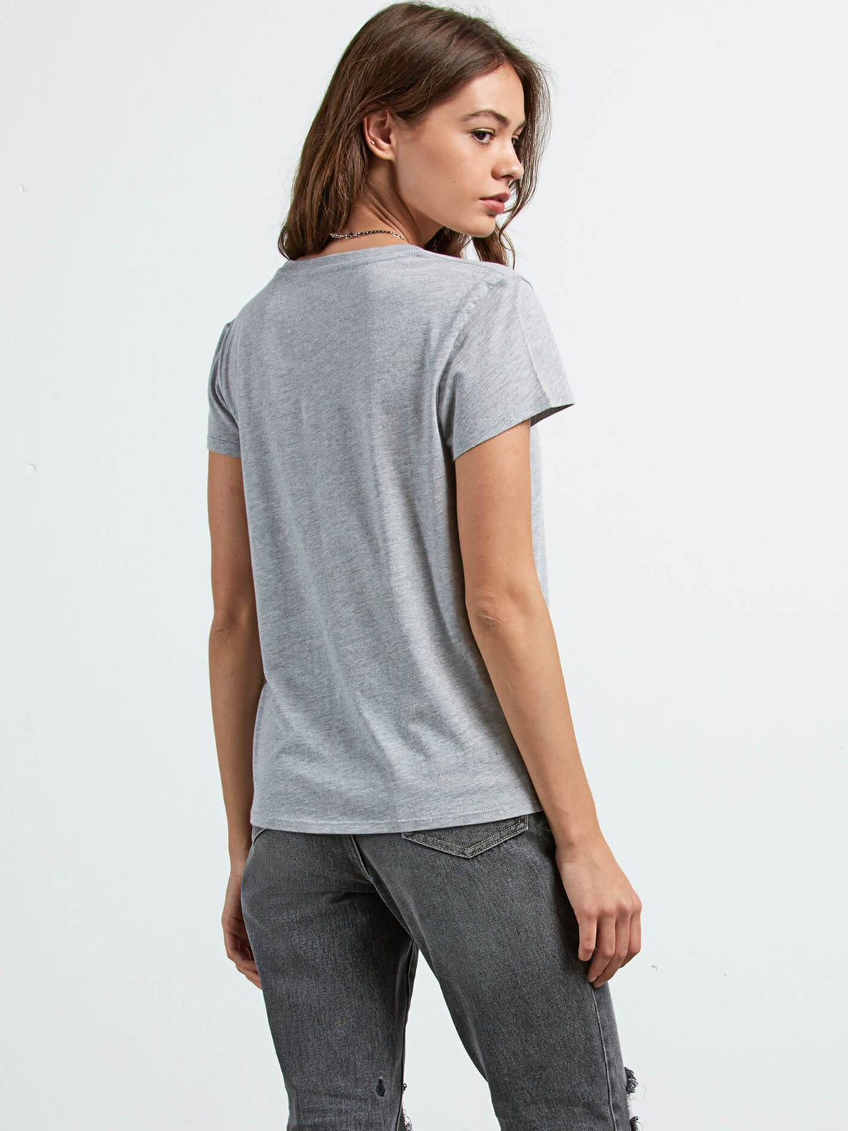 Easy Babe Rad 2 Tee In Heather Grey, Back View