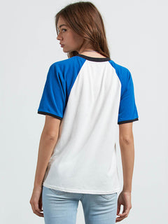 Stage 4 Ringer Tee In White, Back View