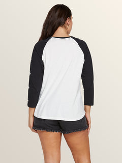 Pop Rocket Raglan In White, Back Extended Size View