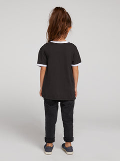 Little Girls Hey Slims Tee In Black Combo, Back View