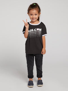Little Girls Hey Slims Tee In Black Combo, Front View