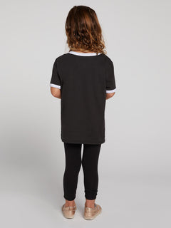 Little Girls Hey Slims Tee In Black, Back View