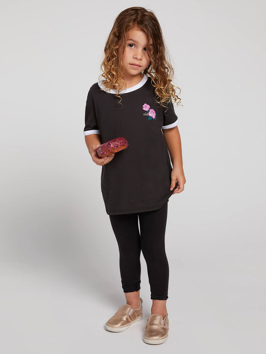 Little Girls Hey Slims Tee In Black, Front View