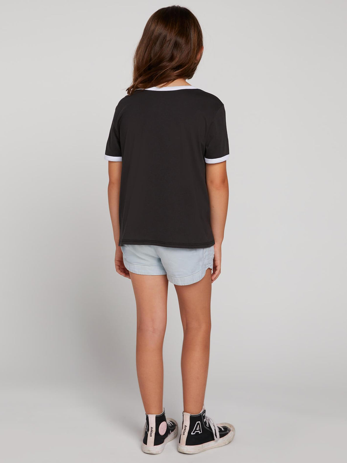 Big Girls Hey Slims Tee In Black, Back View