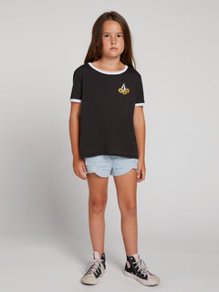 Big Girls Hey Slims Tee In Black, Front View