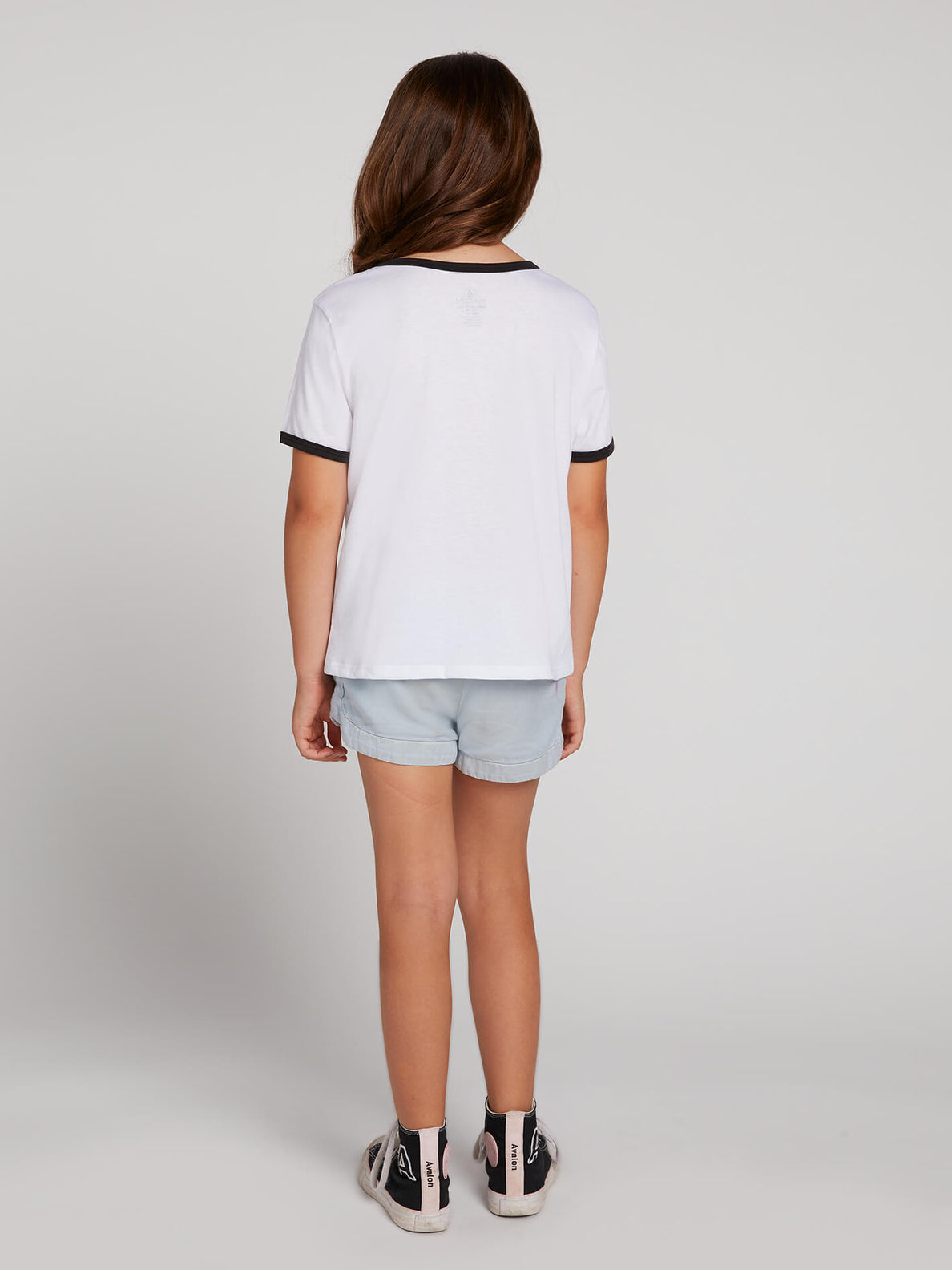 Big Girls Hey Slims Tee In White Combo, Back View