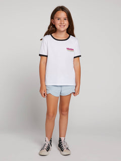 Big Girls Hey Slims Tee In White Combo, Front View