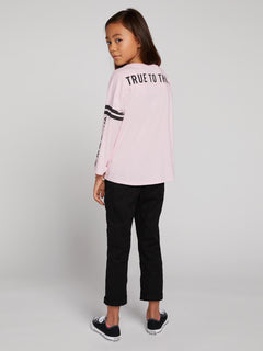 Big Girls Team Volcom Long Sleeve Tee In Faded Pink, Second Alternate View