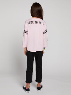 Big Girls Team Volcom Long Sleeve Tee In Faded Pink, Back View