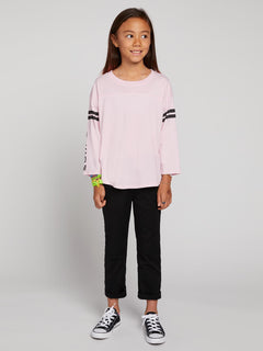 Big Girls Team Volcom Long Sleeve Tee In Faded Pink, Front View