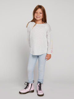 Big Girls Team Volcom Long Sleeve Tee In Light Grey, Front View