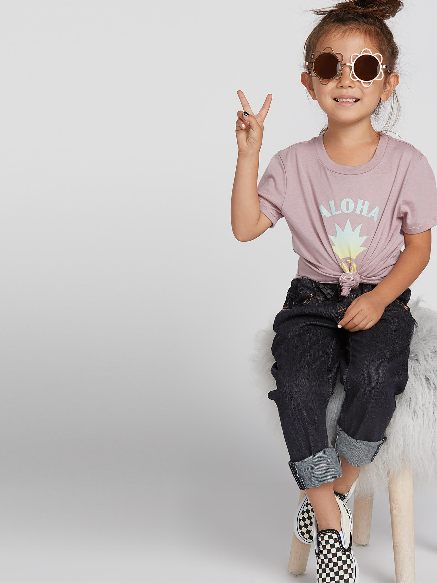 Volcom Little Girls Wav-Ello Tee - Faded Mauve - Faded Mauve - 2T