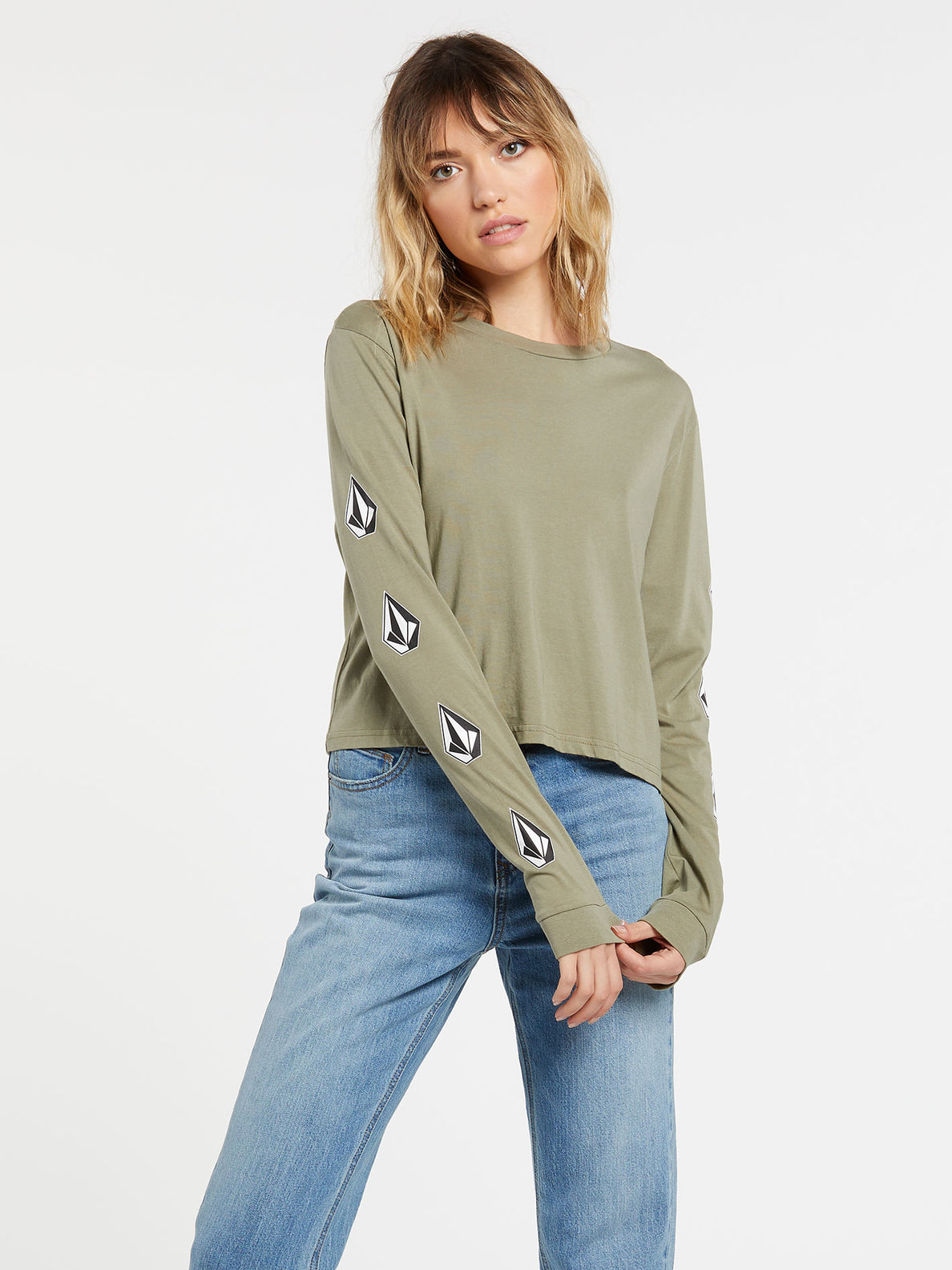 The Volcom Stones Long Sleeve - Green Tea (B3632000_GRT) [F]