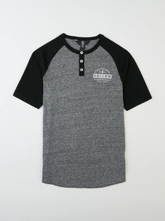 Big Boys Banks Colorblock Henley In Black, Front View