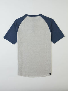 Big Boys Banks Colorblock Henley In Deep Blue, Back View