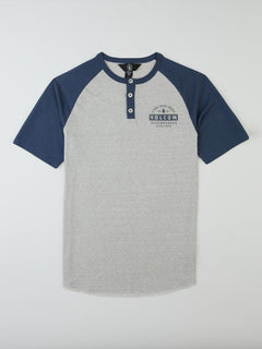 Big Boys Banks Colorblock Henley In Deep Blue, Front View