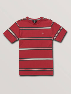 Big Boys Beauville Crew Short Sleeve Tee In Burgundy, Front View