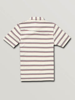 Big Boys Wowzer Stripe Polo In Off White, Back View