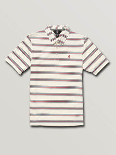 Big Boys Wowzer Stripe Polo In Off White, Front View