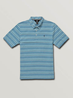 Big Boys Wowzer Stripe Polo In Vintage Blue, Front View